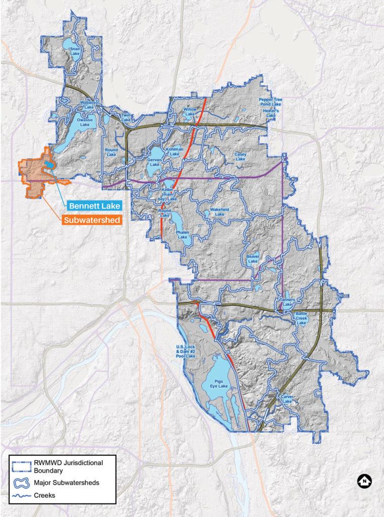 Bennett Lake map