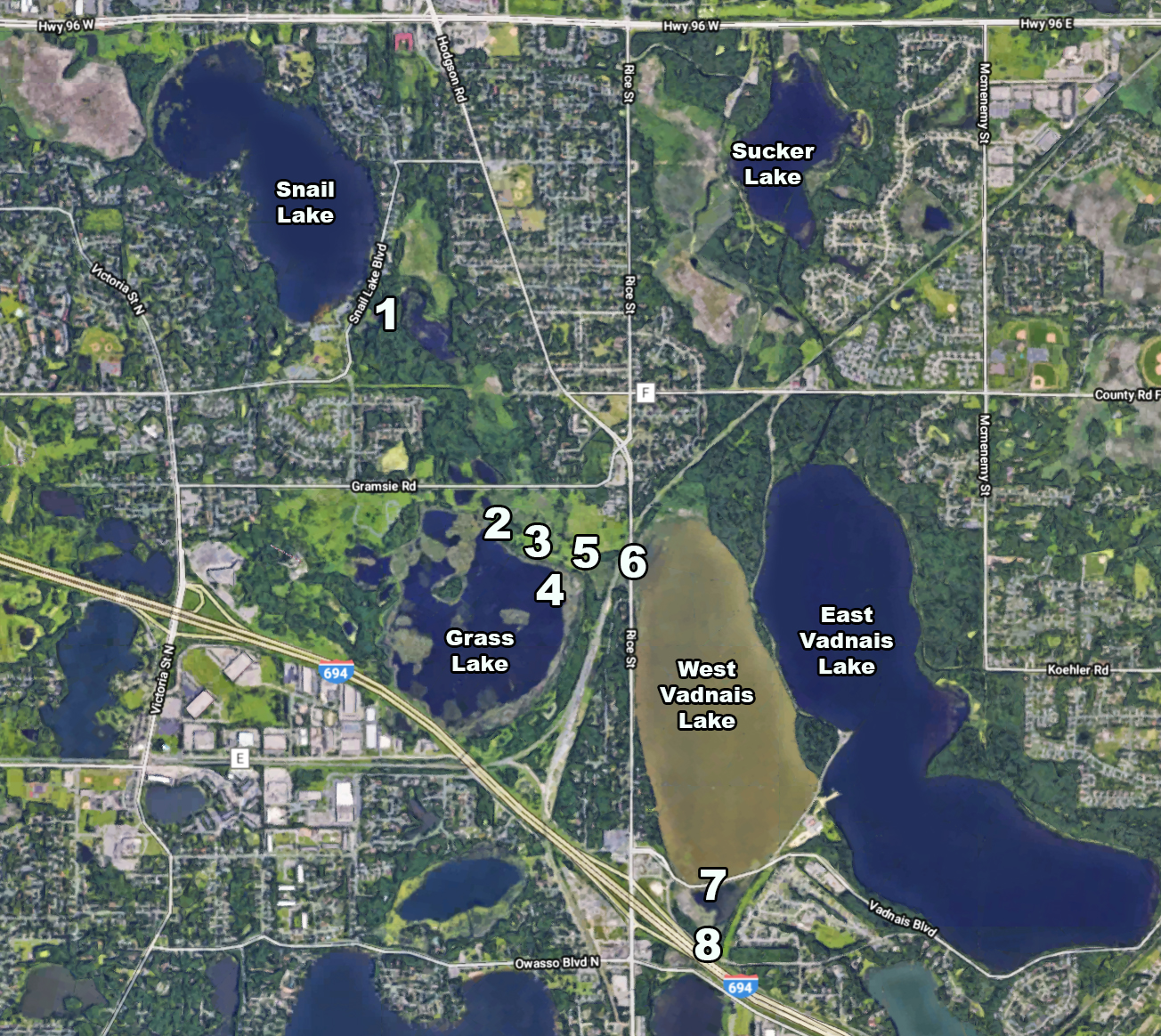 Grass and Snail Lake area map