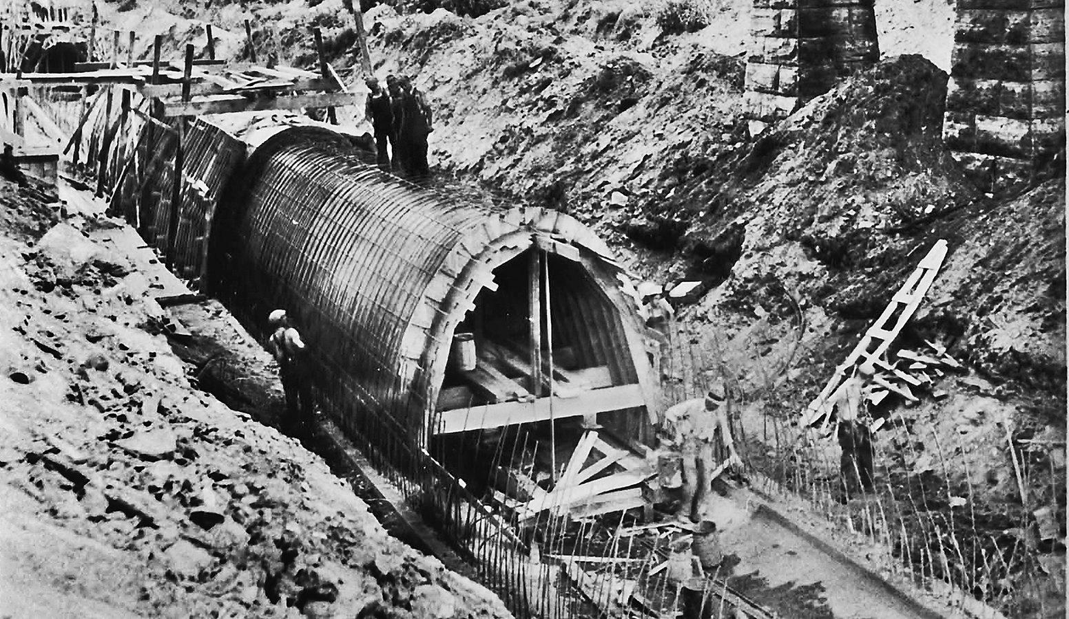 Original construction of the beltline pipe