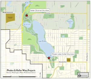 Keller weir and Phalen outlet location map