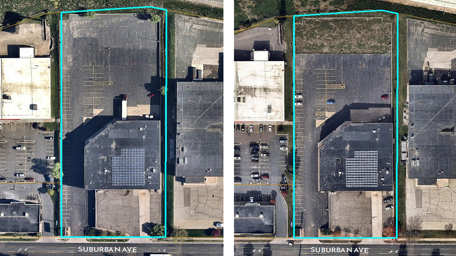 Slumberland lot before and after