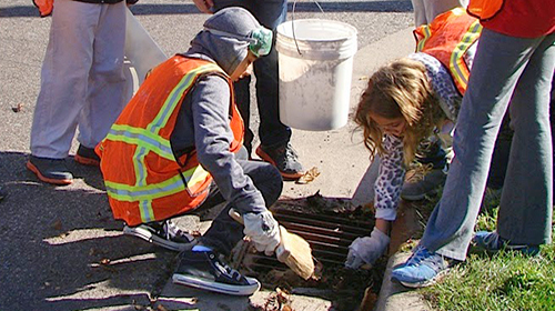 students clearing storm drain